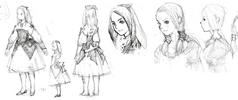 Refia preliminary sketches for Final Fantasy III 3D