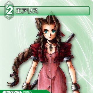 Trading card of Aeris's Tetsuya Nomura artwork.