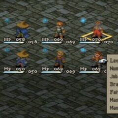 Party roster em <i>Final Fantasy Tactics</i>.