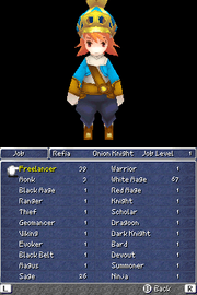 Job selection in Final Fantasy III DS