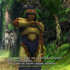 Yaibal introducing himself to Yuna.