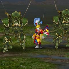 Kefka leading Magitek troopers.