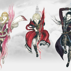 Artwork of Fina, Rain and Lasswell by Yoshitaka Amano.