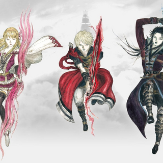 Artwork of Fina, Rain and Lasswell by Yoshitaka Amano