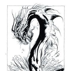 Amano art of the legendary sea serpent Decius from the novel.