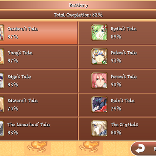 The Bestiary menu in the iOS version. Note that the completion of the bestiary is depending on the tale you played.