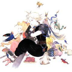 Арт с изображением Клауда и Аэрис работы Ёситаки Амано.