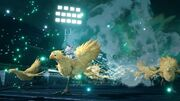 Chocobo and Moogle use Stampede from FFVII Remake