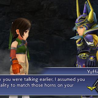 Yuffie mocks the Warrior of Light.