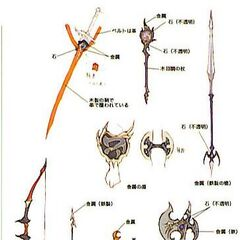 Artwork of Firion's weapons.
