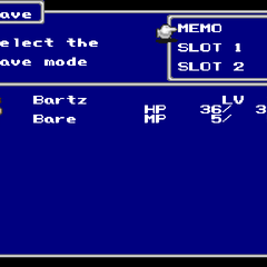 The Save menu in the PSX version.
