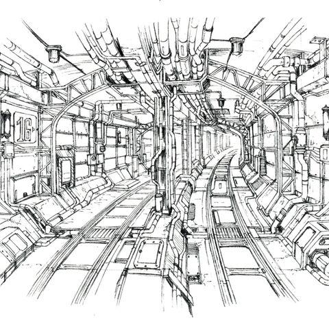 Концепт-арт извилистых тоннелей.