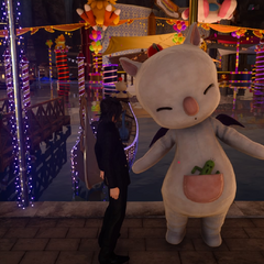 Moogle mascot at the Moogle Chocobo Carnival.