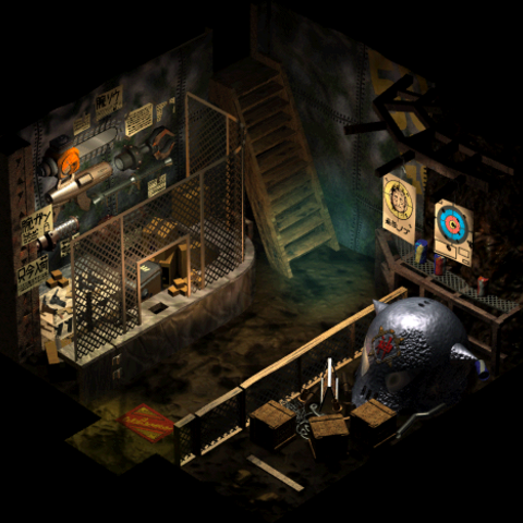 An interior view of the slums' shop in <i>Final Fantasy VII</i>.