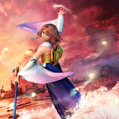 Artwork of Yuna performing the sending.
