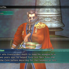 Auron's profile in Shinra's Dossiers.