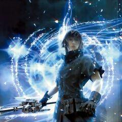 Noctis invoca uma de suas espadas.