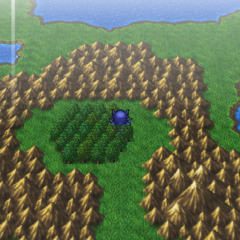 Uma Floresta de Chocobo no mapa do mundo (PSP).