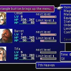 Menu de <i>Final Fantasy VII</i>.
