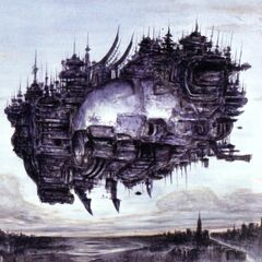 Promotional artwork for the airship Ifrit by Yoshitaka Amano.