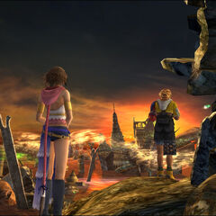 Tidus and Yuna at Zanarkand in the 100% completion ending.