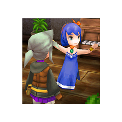 Luneth and the Dancing Girl in <i>Final Fantasy III</i> (iOS).