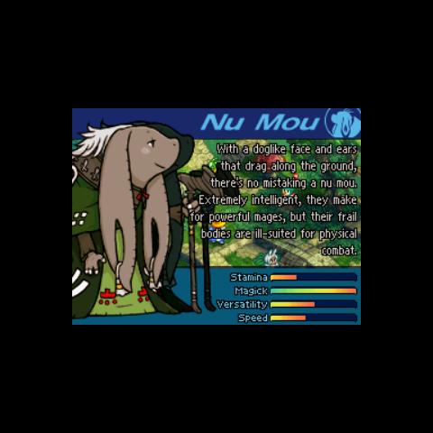 Nu Mou in the <i>Final Fantasy Tactics A2</i> after main menu introduction.