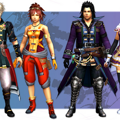 Collaboration outfits in <i>Monster Hunter Explore</i>.