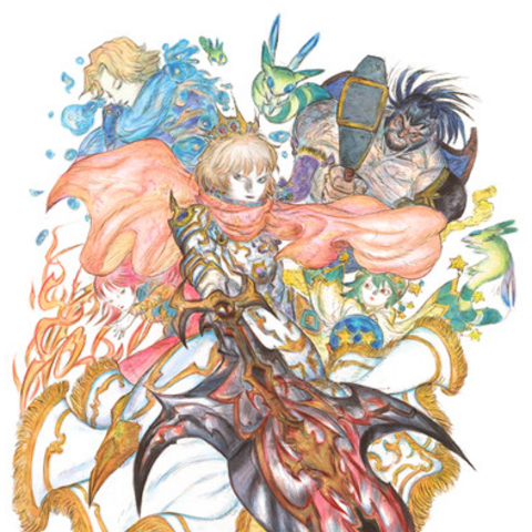 Artwork of Arthur from <i>Monster Strike</i> by Yoshitaka Amano for the collaboration.