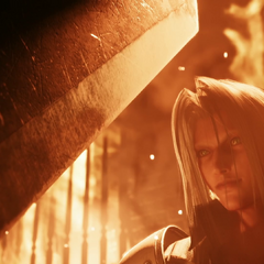 Cloud moves to strike Sephiroth.