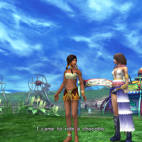 Calli talking to Yuna and Rikku in <i>Final Fantasy X-2</i>.