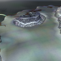 The ruins of the Elven Castle and the surrounding snowfields in World B in <i>Dissidia 012 Final Fantasy</i>.