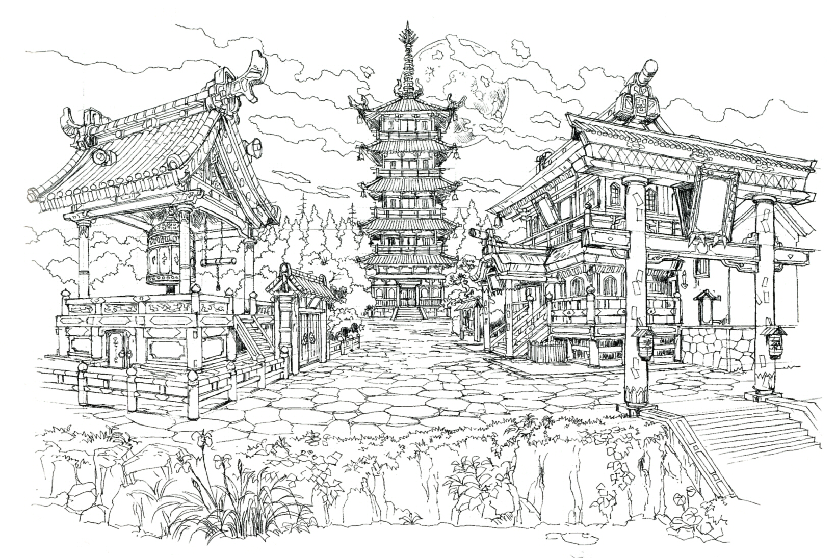 Image wutai ff7 art final fantasy wiki fandom for Final fortress blueprints