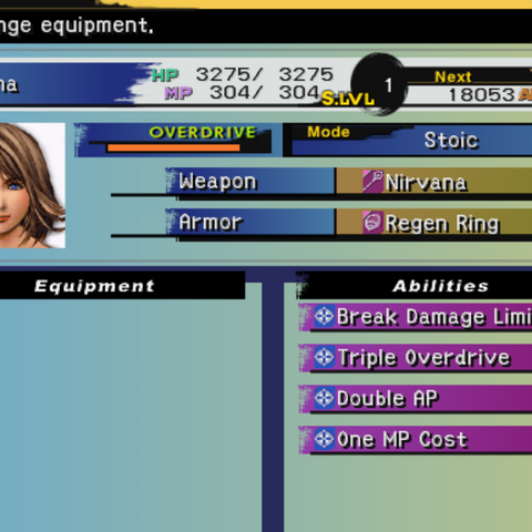 The Equipment menu (PS2).