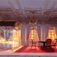 Concept art of Garnet's bedroom in Alexandria Castle.