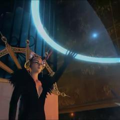 Edea blocks a bullet with magic.