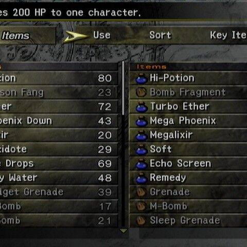 The Items menu (PS2).