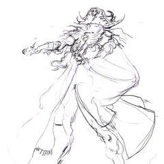 Sketch of a more pirate-like Faris by Yoshitaka Amano.