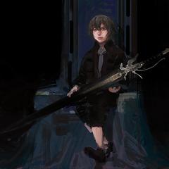 Концепт-арт Ноктиса-ребенка с мечом.