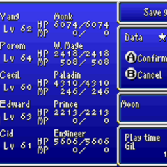 Save menu in the GBA version.