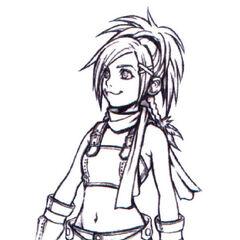 Concept art of Rikku for <i>Kingdom Hearts</i>.