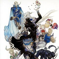 Yoshitaka Amano artwork of Gau along side the rest of the main cast from <i>Final Fantasy VI</i> (Advance).