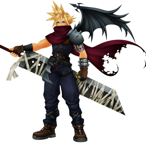 Aparência de Cloud em <i>Kingdom Hearts</i>, baseada no Vincent.