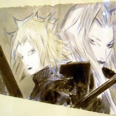 Amano artwork of Cloud and Sephiroth.
