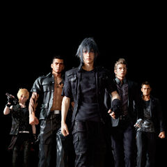 Early version of Noctis with the party and Cor.