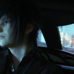 Noctis em um carro.