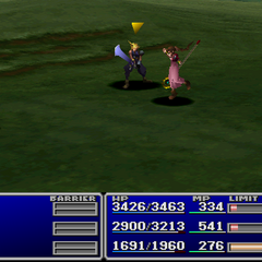Aerith using an item on an enemy.