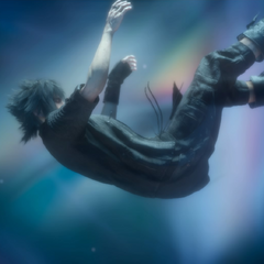 Noctis in an otherworldly realm.