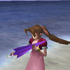 Aeris with Umbrella in <i>Final Fantasy VII</i>.