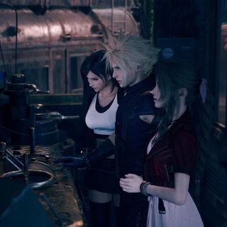 Тифа, Клауд и Аэрис смотрят на пульт управления поездом в <i>Remake</i>.